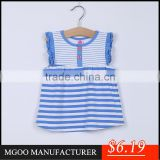 MGOO Cheap Price Cotton Girl Child Clothes Small Baby Light Blue Ruffles Striped Little Dresses CS010