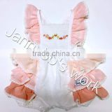Wholesale sweet& fresh style with embroidery&eyelet lace on sleeve &cotton fabric pink baby girls jumpsuits