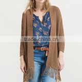 new design custom women plain knitted shawl cardigan with fringe tassels