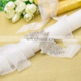 Wholesale high end quality pretty fashion flower rhinestone bride beads belt white color