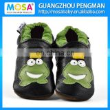 Children Boy Black Cow Leather Loafers Frog Pattern