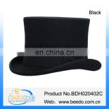 New style wool felt black top hat costumes with leather sweatband