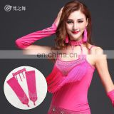 P-9087 High milk silk latin dance performance professional sexy long gloves and necklace