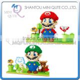 Mini Qute YZ 2 styes Anime japanese super mario Luigi game diamond block plastic building block boys educational toy