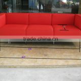 Replica leather red color Le Corbusier three seater LC3 sofa for living room