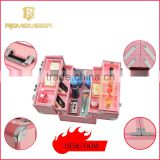 2016 Hot Sale Aluminum Multi Compartments Portable Makeup Station/Aluminum Waterproof Makeup Train Case nail polish holder case
