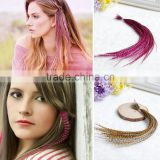 2016 Fashion Grizzly Real Rooster Feather Hair Extension Natural Color Rooster Feather Hair Extension