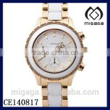 Fashion three eyes six hands chronograph watch unisex*Ceramic Two Tone Gold-tone & White Chronograph