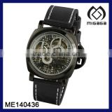 U.S. Army type mens hand-winding sporty watch black leathe strap watch leather watch crown with protection cap