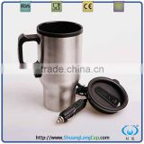 16 OZ Electric Heated Travel Coffee Mug with 12V Adapter, usb mug warmer, 12 volt appliances