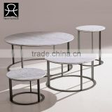 Living room marble top stainless steel base round coffee table tea table side table