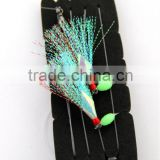 fishing rig flasher sabiki hook lumo wing glow bead 2hooks flasher color is blue and red