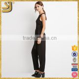 Custom fashion ladies elegant chiffon jumpsuits, black chiffon pants jumpsuits, contemporary summer european jumpsuit