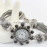 2015 Newest Fashion Antique Silver Metal Flower Hematite Rhinestone Chain Bracelet Watch