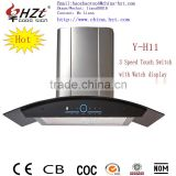 Best used commercial kitchen extractor chimney range hood with watch touch control