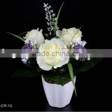 28cm Artificial Flower Satin Rose/Berries/Gypso/Grass With Fern & Plastic Pot