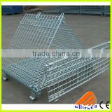 folding stackable storage wire mesh basket container,wire container supplier,stackable wire container