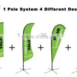 4 In 1 System, Patented Flying Banner of 1 Carbon Frame Pole With Screw Spike & Sublimation Banner.
