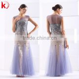 New style simple fashion purple luxury evening dress sexy bare back see through evening dress decent evening dress