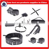 10pcs leather Fetish Sex Toy bed resistant Black male bondage kit