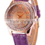 IBELI Lady Women's Rose Gold Bling Westerm Quartz Crystal Purple Leather Bracelet Wrist Watch For Ladies