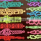 Hot selling tattoo designs hollow tattoo silicone band bracelets