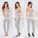 Two piece outfits women Spaghetti Straps Heathered Ribbed Crop Top sweatpants jogger 2 piece Men Women suits