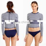 Custom Wholesale Plus Size Nylon Spandex Swimsuits UPF 50 sun protection Cropped long-sleeve stripe mma rash guard