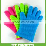 Factory price food grade durable silicone heat resistant grilling BBQ gloves for cooking