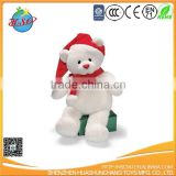 plush christmas white teddy bear toy