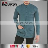 High End Trendy Fashion Men Top Latest Design Buttons Muslim Clothing High Quality Long Sleeve Men Wear Online