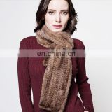 Top quality fluffy and smooth knitted mink fur scarf