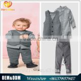 Wholesale Baby boy clothing set grey vest coat grid shirt pants 3 pcs handsome boys suit