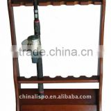 wooden fishing rod stand