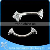 Stainless steel wholesale clear zircon screw eyebrow bars piercing body jewelry