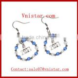 Round glass stone beads earrings zeta phi beta alloy charm jewelry fashion lady's gift wholesale