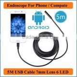 Waterproof USB Endoscope for mobile phone and compute PC laptop 5M Cable Length 6LED Tube Snake Camera 7mm Lens Camera