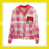 2016 Fashion Products Bros Baby Rinne Terry Cloth Sewing Checked Pattern Women Long Sleeve Cotton White Pink Zippered Jacket