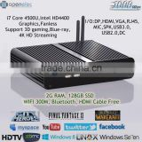 Stock Black Mini Alloy Fanless PC Intel i7 Core Support Linux Win7 Win8 Blue-ray 3D 4k hd DX 11 WAKE-ON-LAN 2G RAM 128G SSD HTPC