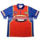 2015 100% polyester sublimated custom racing team pit crew shirts