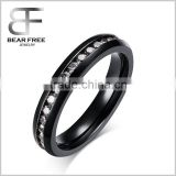 black finished Stainless Steel Eternity Ring Band CZ White Wedding Charm Elegant Women