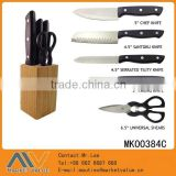 HIGH QUALITY HOT SELLING 6PCS KITCHEN KNIFE SET S.S TRIPLE-RIVETED PREP WITH BLACK PP HANDLE & WOODEN BLOCK