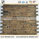 Brown Crystal strip glass mosaic tile for balcony wall decor