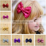 New hair accesory 11cm sequin fabric bowknot,handmade glitter slender hair bows, decorative clips bows