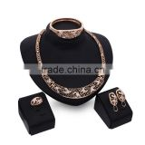 Dubai Wedding Jewelry Set Moon Shape Engraved Flower Costume Jewelry Accessory For Women