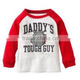 baby 9 months cute tee kids t shirt daddy's tough guy garment bear cartoon characters pattern printing high quality fabric