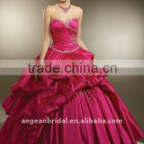 Top beautiful sweetheart neckline taffeta ball gown quinceanera dress with pleated bodice and pick- up skirt XZ-pd1262
