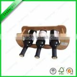 New design 3 bottle bamboo wine glass rack
