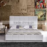 Leather bed / white leather diamond bed / cheap white leather bed / modern leather bed / white leather bed