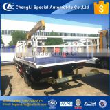 CLW new design 1 tow 2 cars wrecker towing truck equipped with 4 tons crane and detachable side fence